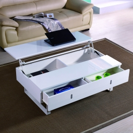 Table basse laquée blanc multifonction EASY