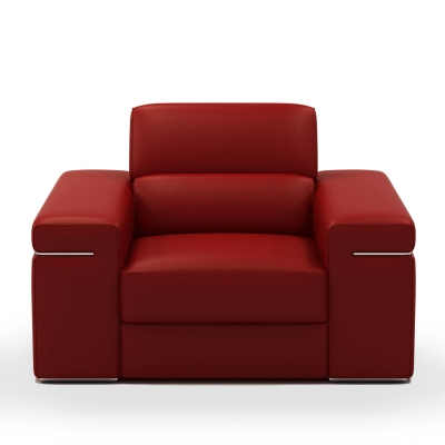 Fauteuil cuir rouge THOMAS