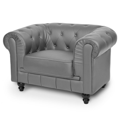 Fauteuil Gris CHESTERFIELD
